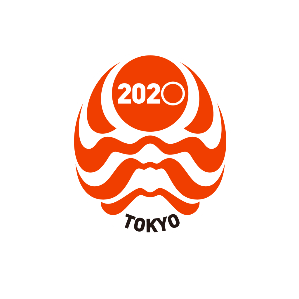 Backjoy -バックジョイ チャーム -TOKYO 2020 販促・商品デザイン  歌舞伎の隈取をデザインモチーフに、立ち込める朝の大気の中、太陽が昇る山岳風景を表現。